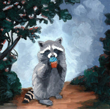 Load image into Gallery viewer, Raccoon with Cupcake - 8x8 print