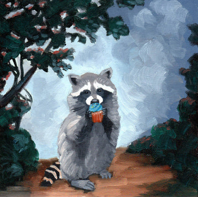 Raccoon with Cupcake - 8x8 print