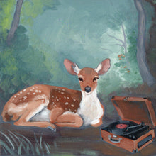 Load image into Gallery viewer, Oil painting by Kim Ferreira; Deer listening to vinyl record