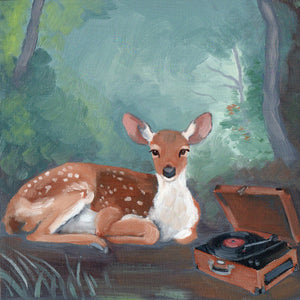 Oil painting by Kim Ferreira; Deer listening to vinyl record