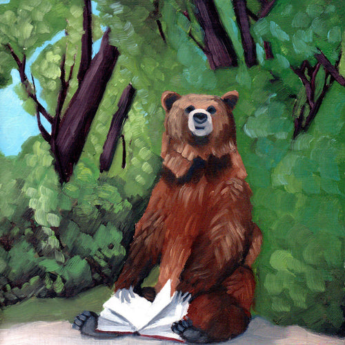 Bear with Book - 8x8 print