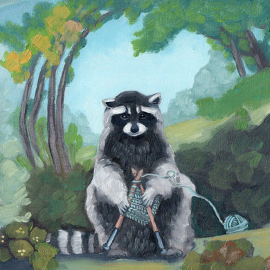Raccoon knitting - 8x8 print