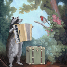 Load image into Gallery viewer, Raccoon w/ Accordion - 8x8 print