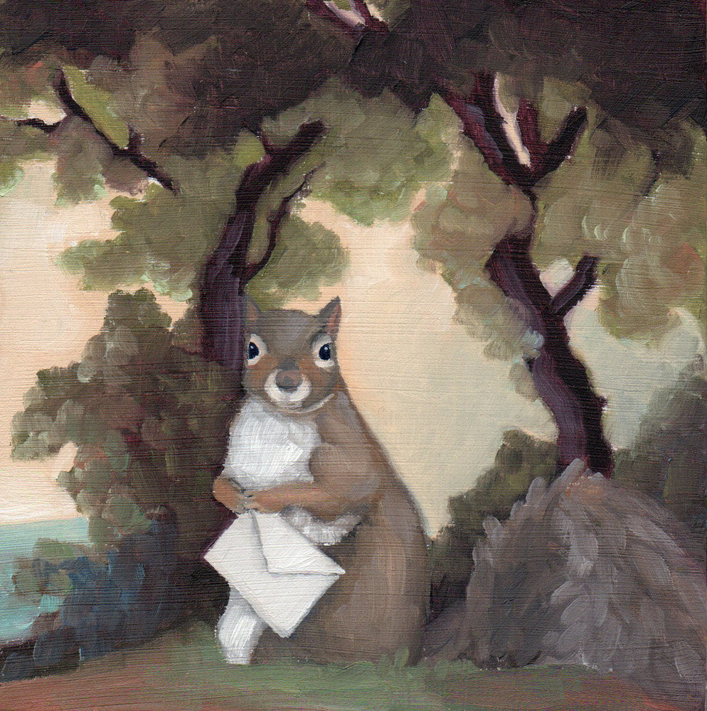 Squirrel w/ Letter - 8x8 print