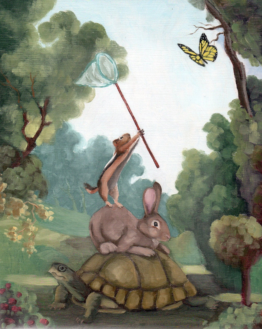 Tortoise, Rabbit, Chipmunk w/ Butterfly Net