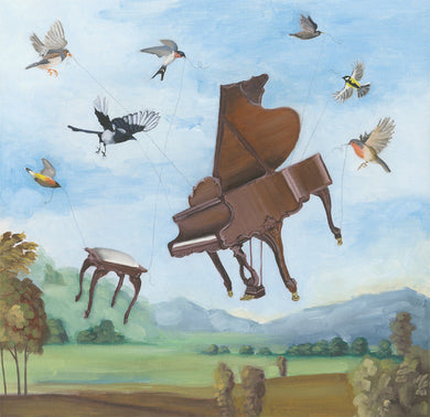 Songbirds w/ Grand Piano - 8x8 print