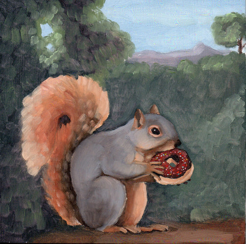 Squirrel w/ Chocolate Frosted Doughnut - 8x8 print