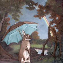 Load image into Gallery viewer, Rabbit w/ Umbrella and Rainbow - 8 x 8 print