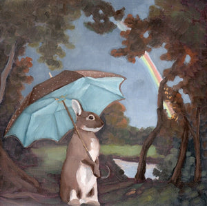 Rabbit w/ Umbrella and Rainbow - 8 x 8 print
