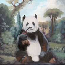 Load image into Gallery viewer, Panda Bear w/ Pipe - 8 x 8 print