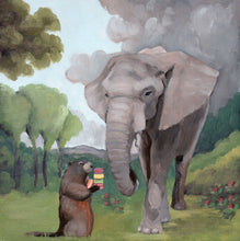 Load image into Gallery viewer, Elephant and Groundhog w/ Macarons - 8 x 8 print