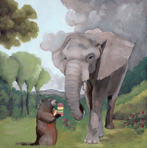 Elephant and Groundhog w/ Macarons - 8 x 8 print