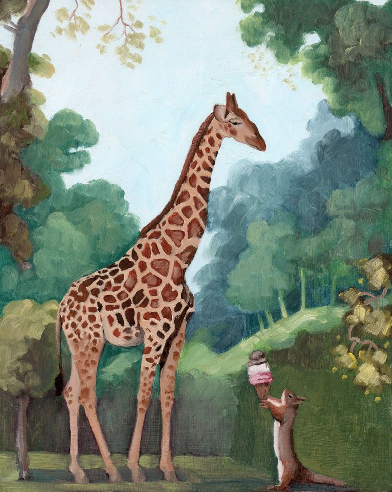 Giraffe and Squirrel w/ Ice Cream Cone - 8 x 8 print
