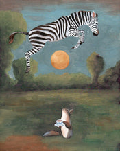 Load image into Gallery viewer, Zebra and Squirrel w/ Cup of Tea - 8 x 8 print