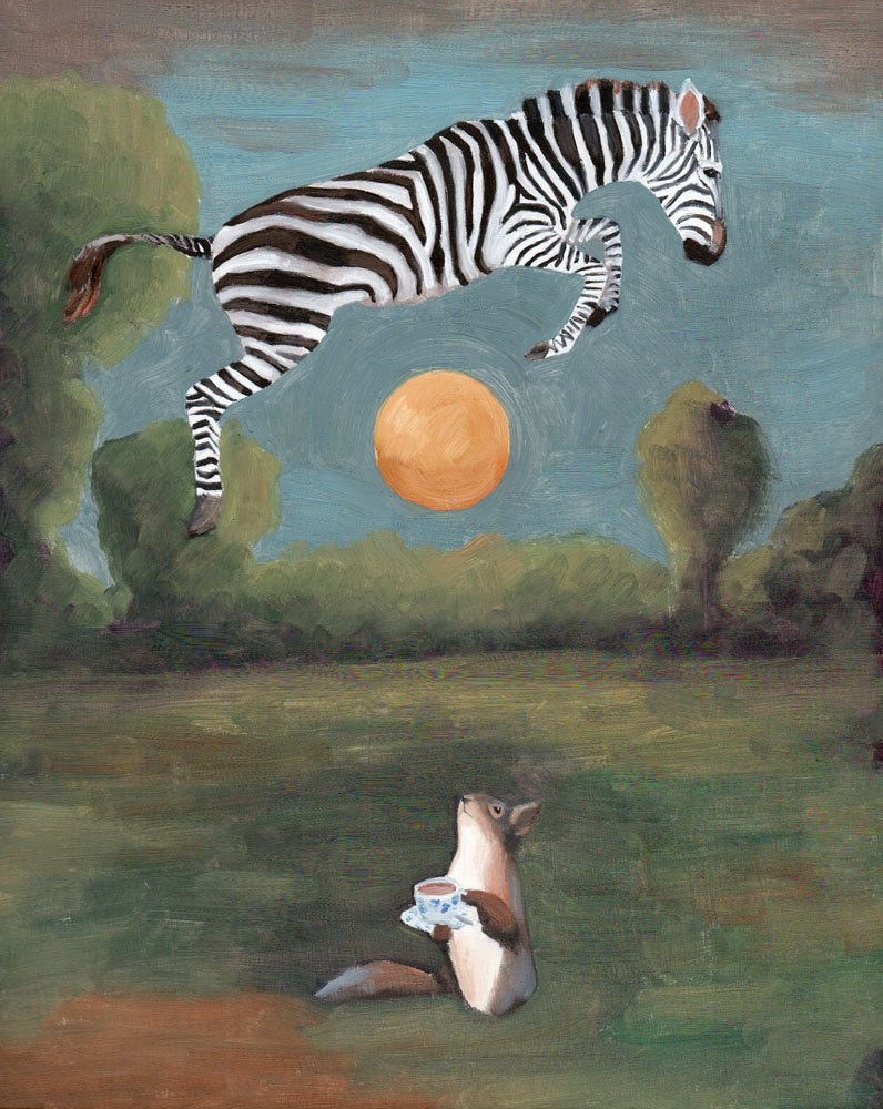 Squirrel w/ Tea and Zebra Over the Moon - Art Print