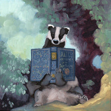 Load image into Gallery viewer, Badger w/ Alice's Adventures in Wonderland - 8x8 print