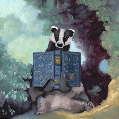 Badger w/ Alice's Adventures in Wonderland - 8x8 print