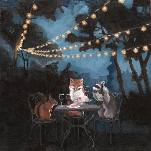 Garden Party w/ Fox, Raccoon and Squirrel - 8x8 print