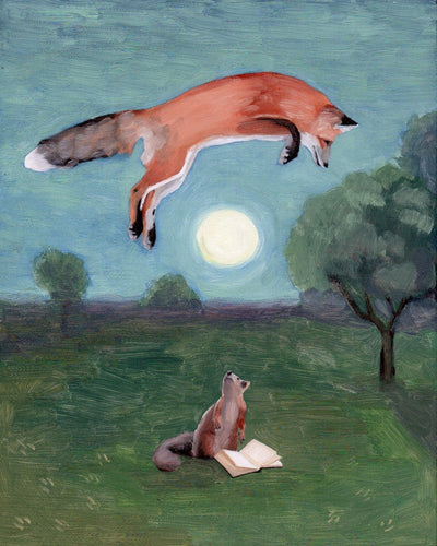 Fox and Full Moon w/ Squirrel and Book - 8x8 print