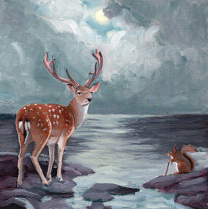 Deer and Squirrel w/ Ocean - 8x8 Original Painting