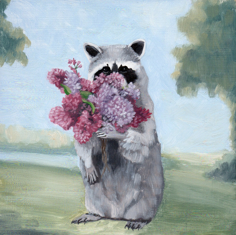 Anthropomorphic animal painting by Kim Ferreira; Lilacs