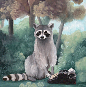 Raccoon w/ Typewriter - 8x8 print