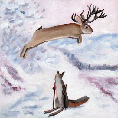 Jackalope w/ Skiing Squirrel - 8x8 original painting