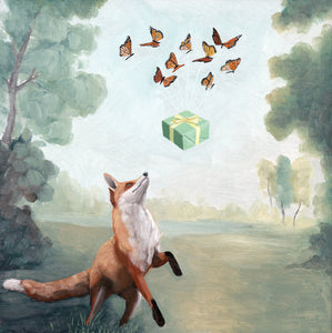 Fox and Butterflies w/ Gift - 8x8 print
