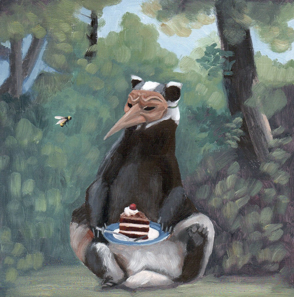 Badger w/ Mask and Devil's Food Cake - 6x6 original painting