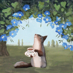 Morning Glories and Squirrel w/ Tea - 8x8 print