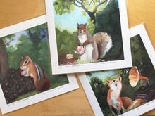 Load image into Gallery viewer, Morning Glories and Squirrel w/ Tea - 8x8 print