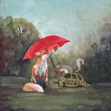 Load image into Gallery viewer, Fox, Squirrel, Turtle and Butterfly w/ Umbrella - 8x8 print
