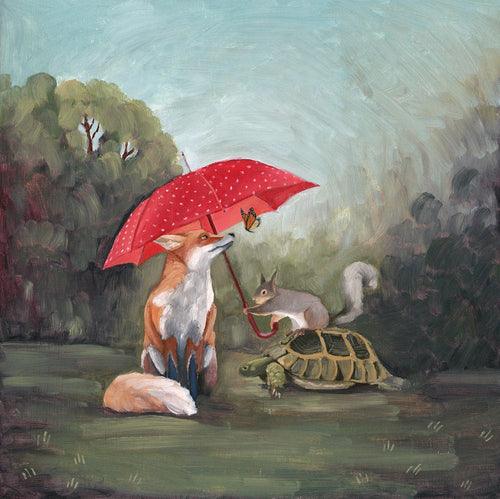 Fox, Squirrel, Turtle and Butterfly w/ Umbrella - 8x8 print
