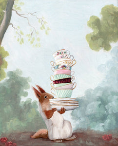 Anthropomorphic Art Print by Kim Ferreira; Woodland Animal Tea Party