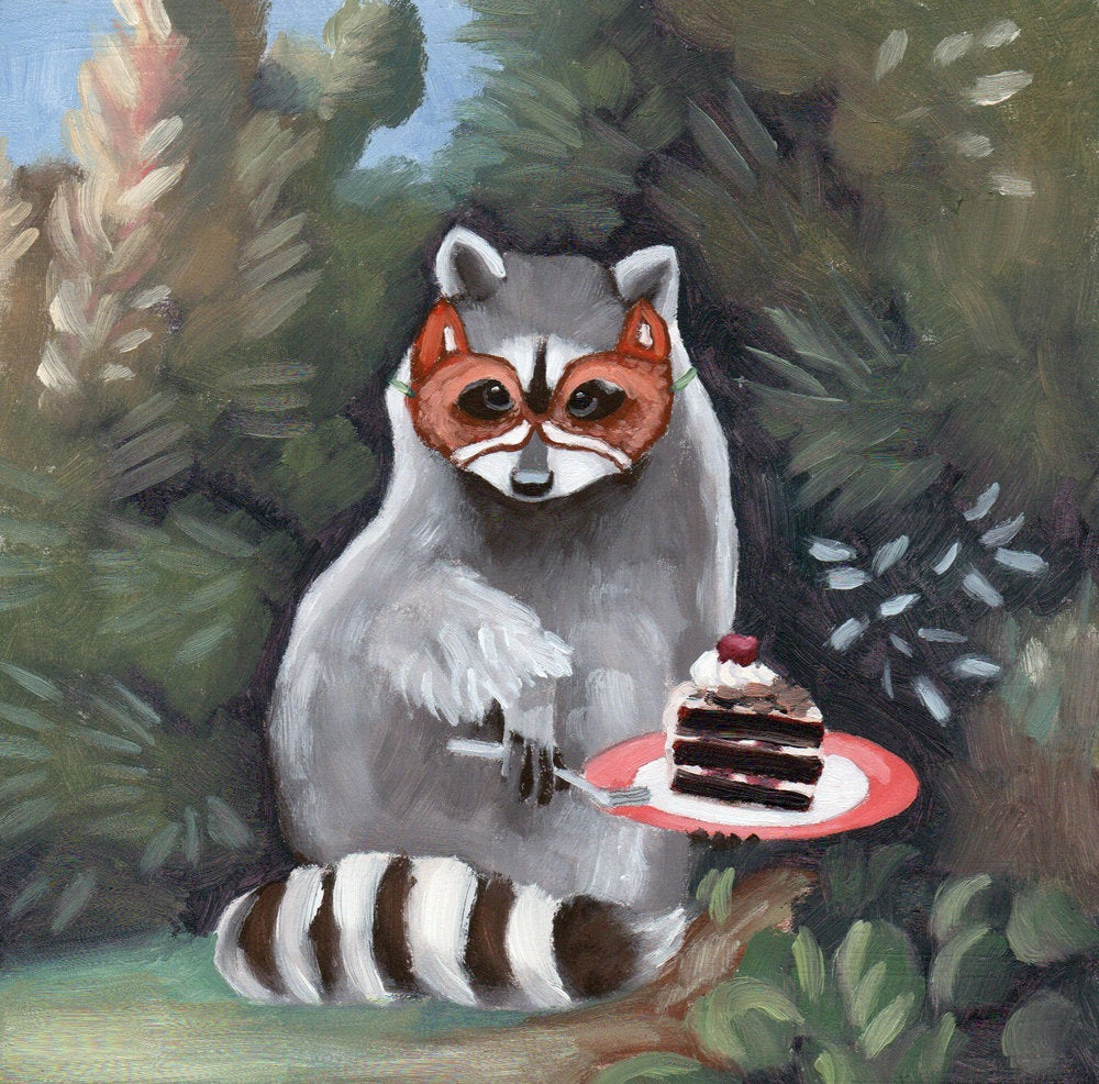 Raccoon w/ Fox Mask and Cake - 6x6 original painting