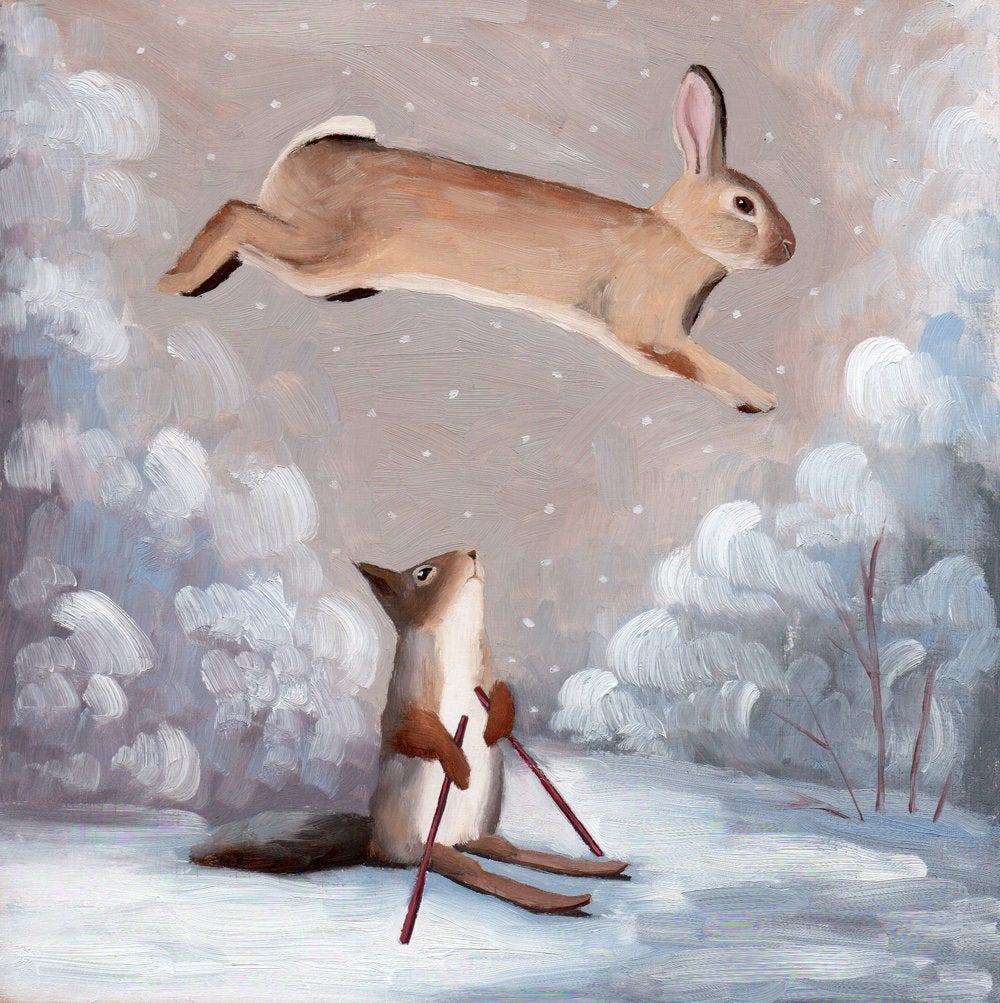 Rabbit Jumping Over Squirrel Skiing - 8x8 limited edition print