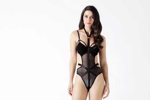 Black Lace Bodysuit-Looment