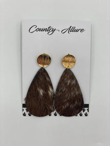 Cowhide Teardrop Earrings