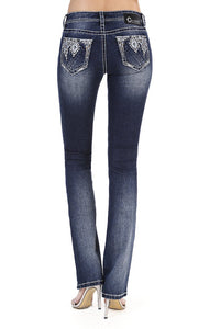 Charme | Western Diamond Embellished Easy Bootcut Jeans | CEB-71195
