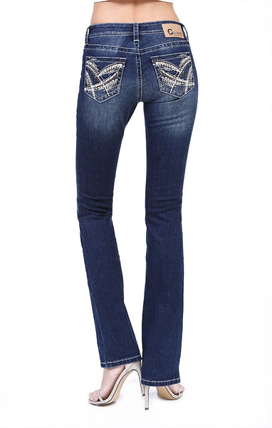 Charme | Stitched Embellished Easy Bootcut Jeans | CEB-3310