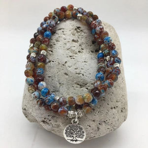 Faceted Fire Agate Stone Bracelet with Charm
