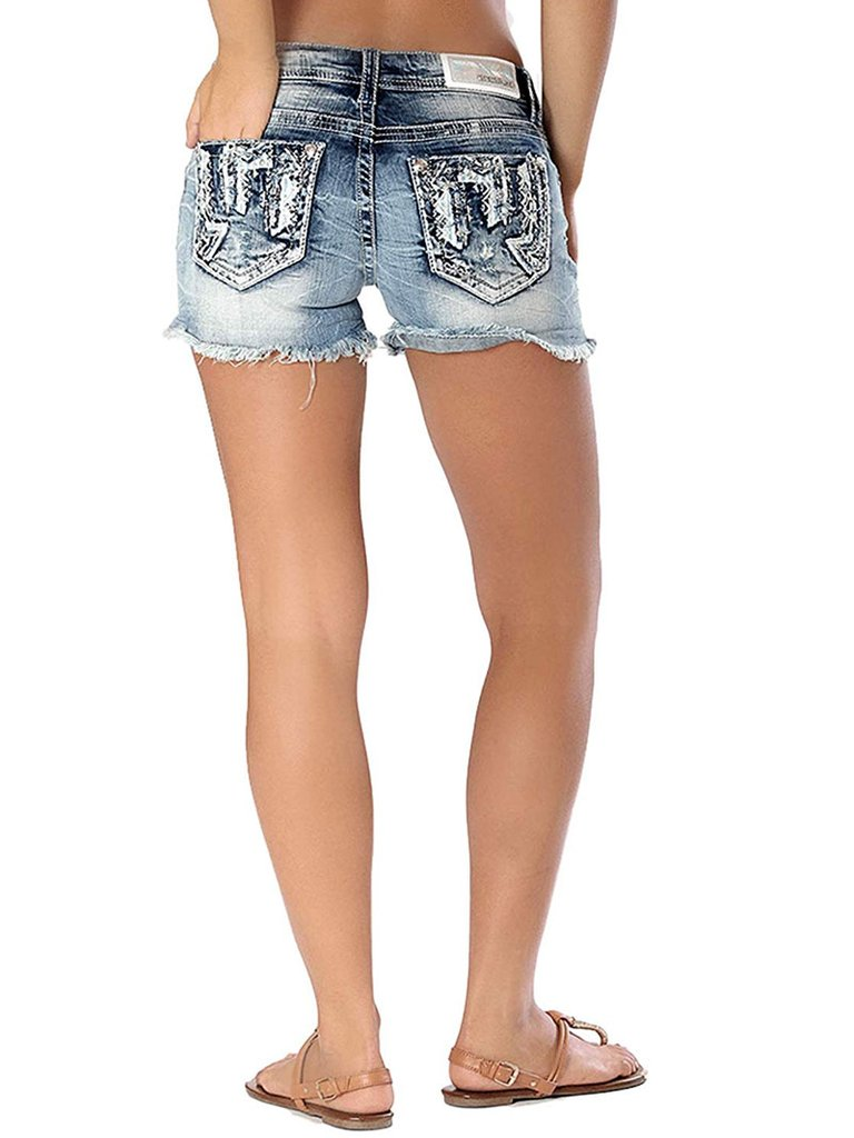 Charme | Western Embellished Denim Shorts | CJH-51297