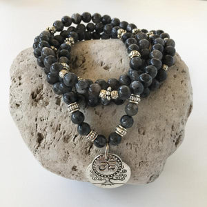 BLACK MOONSTONE 6MM STONE BRACELET WITH TREE OF LIFE AND OM CHARMS