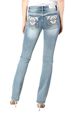 Grace in LA | Light Wash Embellished Bootcut Jeans | JB-S186