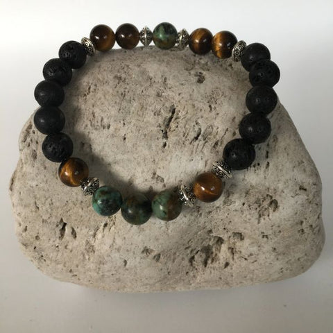 Lava Rock, Tiger Eye & African Turquoise Stone Bracelet