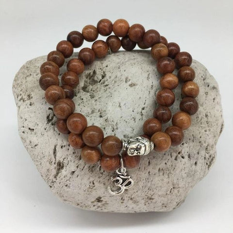 Mala Wooden Bead Bracelet with Charm