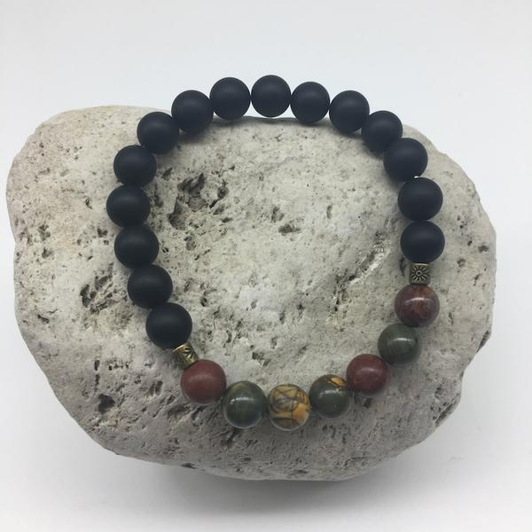 NATURAL PICASSO JASPER AND BLACK AGATE 8MM STONE BRACELET