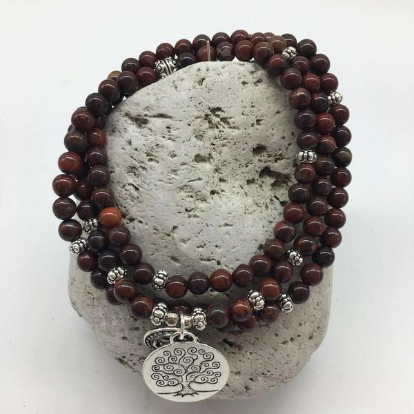 Poppy Jasper Stone Bracelet with Charms