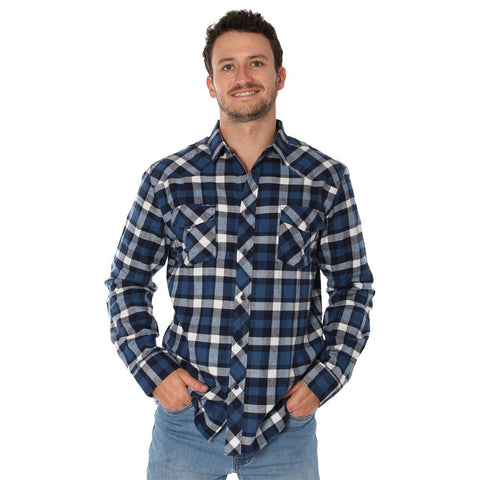 Ringers Western | Cooma Mens Flanno Semi Fitted Shirt - Steel & Navy Check