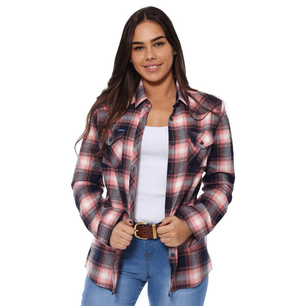 Ringers Western | Junee Womens Flanno Semi Fitted Shirt - Melon & Navy Check